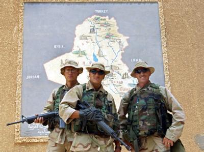 US-Soldaten im April 2003 in Babylon. Einige der Folter-Fälle seien von den Amerikanern untersucht worden, schreibt die «New York Times» - die meisten allerdings scheinen ignoriert worden zu sein.