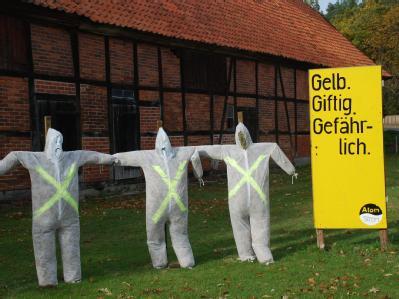 Strohpuppen, die verstrahlte Menschen darstellen sollen, am Samstag in dem Dorf Gusborn nahe Gorleben.
