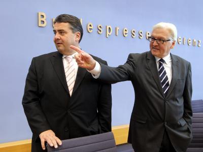 SPD-Parteichef Gabriel und der Fraktionsvorsitzende Steinmeier nahmen Stellung zu einem Jahr
