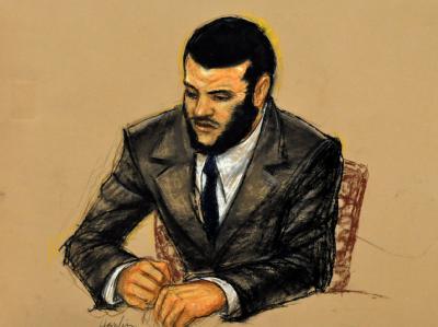 Foto einer Gerichtszeichnung von Omar Khadr. Der inzwischen 24-Jährige Khadr hatte sich schuldig bekannt, einen US-Soldaten mit einer Handgranate getötet zu haben.