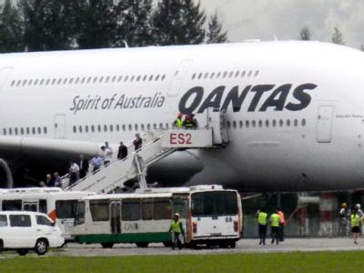 Qantas-Airbus A 380 in Singapur