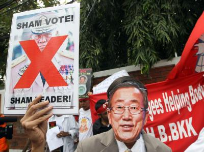 Protest gegen Wahlen in Birma