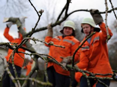 Männer der freiwilligen Feuerwehr beseitigen im schleswig-holsteinischen Aukrug-Homfeld einen auf die Straße gefallenen Baum.