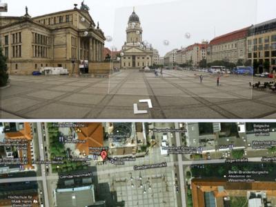 Ach schau an: Mit dem neuen Internet-Kartendienst Google Street View zeigt die obere Hälfte eines Computerbildschirmes den Berliner Gendarmenmarkt in 3D-Ansicht. Unten im Bild ist die dazugehörige herkömmliche Kartendarstellung von Google Maps zu sehen.