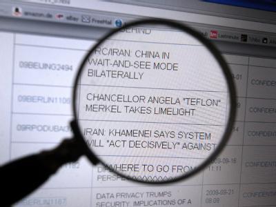 Die Internetseite von Wikileaks mit einer Depesche, in der Bundeskanzlerin Merkel mit Angela