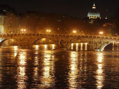 Heftige Regenfälle haben den Tiber in der Hauptstadt Rom stark anschwellen lassen.