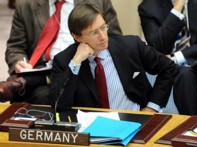 Peter Wittig, der deutsche UN-Botschafter, bei einer Sitzung des UN-Sicherheitsrats.