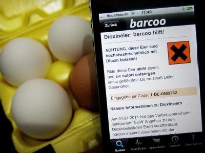 Die Barcoo-Anwendung erkennt mit Hilfe des aufgedruckten Codes, ob ein Ei von einem mit dioxinbelasteten Futtermitteln belieferten Hof stammt.