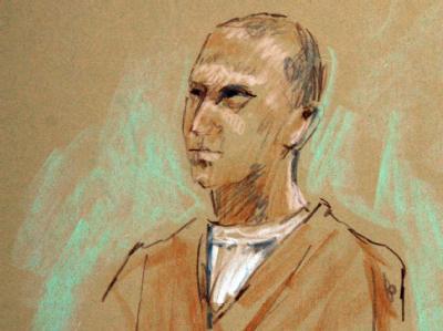 Der Angeklagte auf einer Gerichtszeichnung während seiner Anhörung.