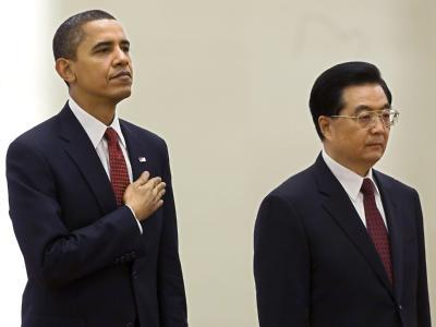 US-Präsident Barack Obama und Chinas Staatschef Hu Jintao am 16.11.2009 in der Großen Halle des Volkes in Peking.
