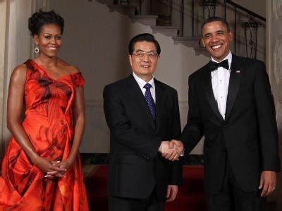 US-Präsident Obama begrüßt den chinesischen Staatschef Hu Jintao zum Staatsbankett im Weißen Haus.