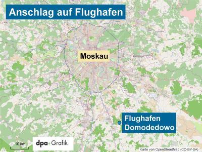 Die Karte zeigt Moskau und die Lage des internationalen Moskauer Flughafens Domodedowo.Dort sind bei einem Selbstmordattentat mindestens 31 Menschen getötet und etwa 130 weitere verletzt worden.