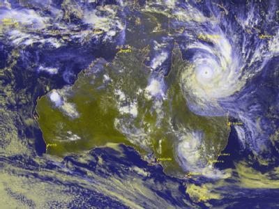 Ein Satellitenbild, das von einem japanischen Wettesatelliten aus 36 000 km Höhe aufgenommen wurde, zeigt den Zyklon «Yasi». Foto: Deutscher Wetterdienst