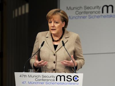 Angela Merkel spricht bei der 47. Sicherheitskonferenz in München.