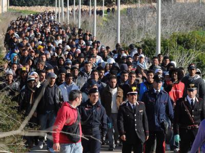 Tunesische Fl�chtlinge auf Lampedusa