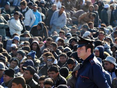 Flüchtlinge aus Nordafrika auf der italienischen Insel Lampedusa.
