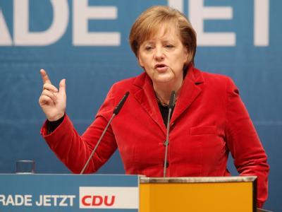 Bundeskanzlerin Angela Merkel beim Wahlkampfabschluss der CDU.