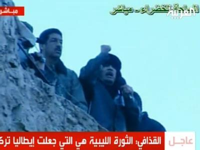 Im libyschen Fernsehen wurde am Freitagabend eine Hassrede des in die Enge getriebenen Machthabers Gaddafi übertragen.