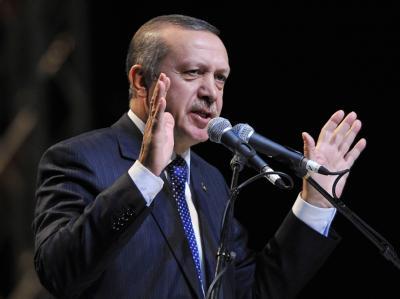 Zu Besuch in Düsseldorf: der türkische Ministerpräsident Recep Tayyip Erdogan