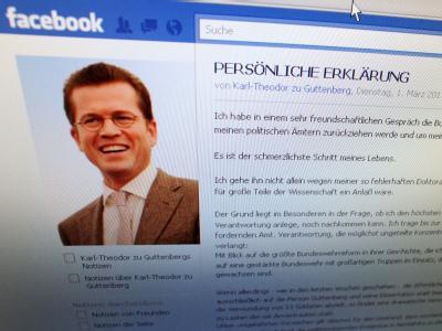 Screenshot der Facebook-Seite von Karl-Theodor zu Guttenberg.