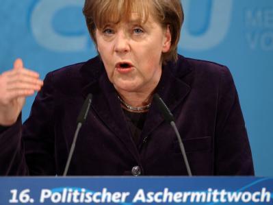Bundeskanzlerin Angela spricht beim Politischen Aschermittwoch der CDU Mecklenburg-Vorpommern in Demmin.