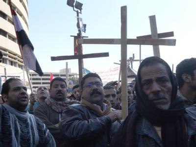 Ägyptische Kopten protestieren in Kairo.