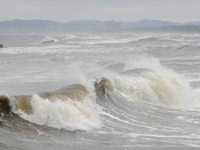 Eine Tsunami-Welle trifft bei Isumi auf die Küste Japans (Archivbild vom 28. Februar 2010).
