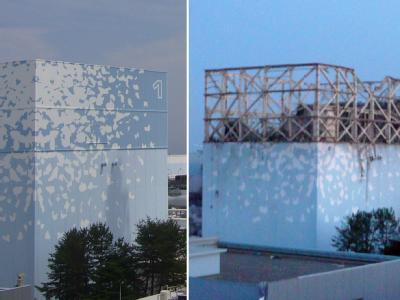 Block 1 in Fukushima vor und nach der Explosion.