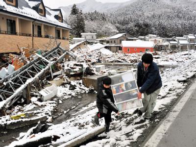 Wintereinbruch im Katastrophengebiet