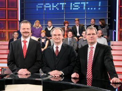 Die Spitzenkandidaten der Landtagswahl in Sachsen-Anhalt Wulf Gallert (Die Linke - l-r), Reiner Haseloff (CDU) und Jens Bullerjahn (SPD).
