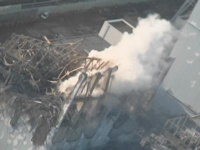Luftbild vom AKW Fukushima Eins: Zustand von Reaktor 3 am Donnerstag.