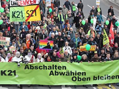 Demonstration gegen das Bahnprojekt Stuttgart 21