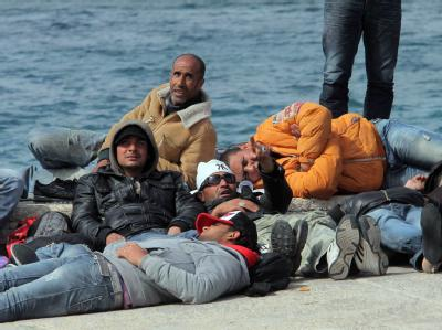 Flüchtlinge auf der Insel Lampedusa in Süditalien