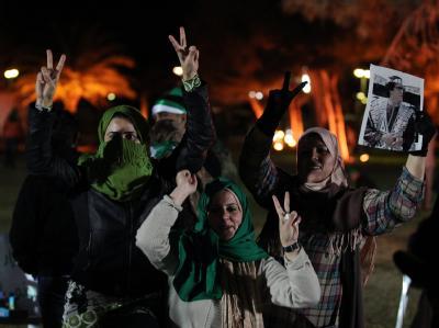 Anhänger von Libyens Machthaber Muammar al-Gaddafi in der Hauptstadt Tripolis