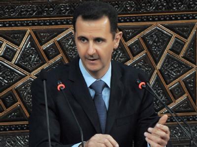 Assad am Mittwoch während seiner Rede vor dem Parlament in Damaskus.