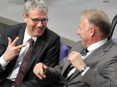 Der Fraktionsvorsitzende der Grünen, Jürgen Trittin (r), und Bundesumweltminister Norbert Röttgen (CDU) unterhalten sich während der Debatte