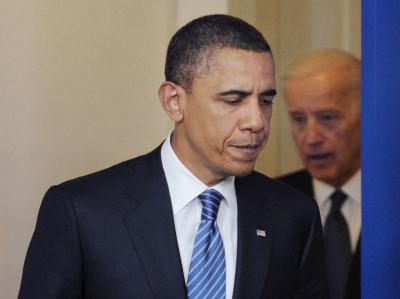«Kein wilder Optimismus»: US-Präsident Barack Obama (daneben Vize-Präsident Joe Biden) muss weiter einen finanziellen Stillstand der Regierung befürchten.