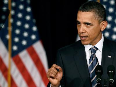 US-Präsident Barack Obama bei einer Rede zur Steuerpolitik an der George Washington University in Washington.