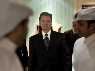 Bundesaußenminister Guido Westerwelle im Tagungshotel der Libyen-Kontaktgruppe.