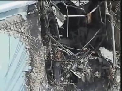 Die Südseite des Reaktors Nr. 4 von Fukushima Eins, aufgenommen mit einer Drohne. (Foto: Tepco)