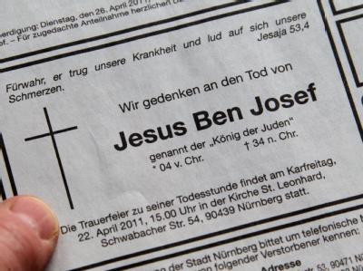 Todesanzeige für Jesus
