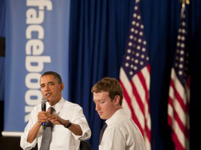 US-Präsident Barack Obama und Facebook-Chef Mark Zuckerberg im Facebook-Hauptquartier in Palo Alto.