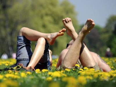 Ein Mann und eine Frau liegen im Englischen Garten in München auf einer Wiese mit blühendem Löwenzahn.