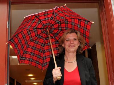 Die Bremer Spitzenkandidatin der Partei Die Linke, Kristina Vogt.