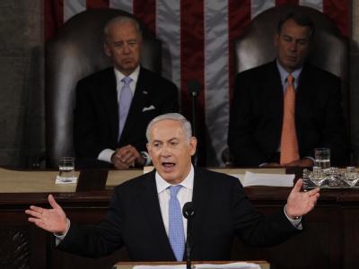 Der israelische Ministerpräsident Benjamin Netanjahu spricht vor dem US-Kongress in Washington.