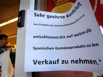 Supermarkt-Hinweis auf Gem�se aus Spanien