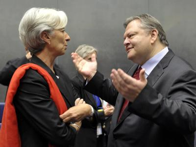 Die französische Finanzministerin Christine Lagarde und ihr neuer griechischer Amtskollege Evangelos Venizelos in Luxemburg.