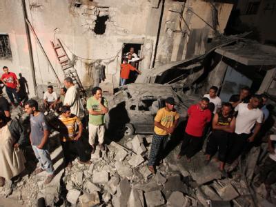 Trümmer eines Hauses, das nach offiziellen Angaben Libyens von Nato-Raketen zerstört wurde.