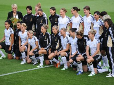 Die Spielerinnen der deutschenFrauenfußball-Nationalmannschaft.