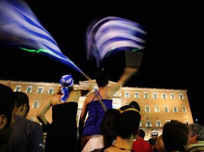 Protest vor dem Parlament in Athen.